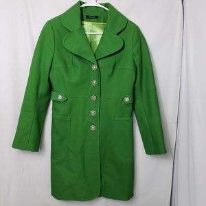 Vintage Jungal Green Trench Coat Flower Buttons
